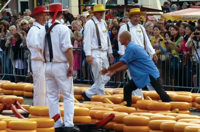 Tradiční sýrový trh v Alkmaaru, Holandsko