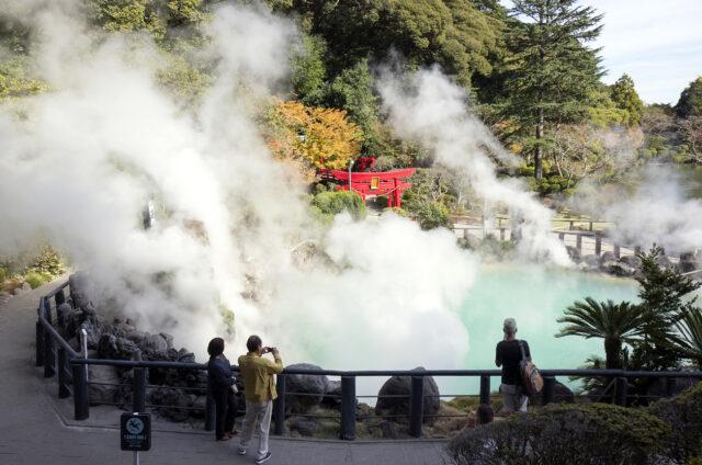 Horké zřídlo Umi Jigoku, Beppu, Japonsko