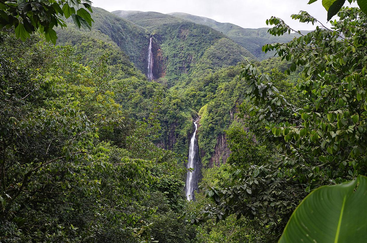 Kaskáda vodopádů na řece Carbet, Basse Terre, Guadeloupe