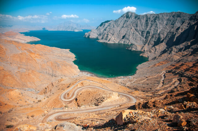 Pohled na fjord Khor an Najd, Khasab, Omán