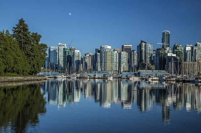 Pohled na mrakodrapy ze Stanley parku, Vancouver, Kanada