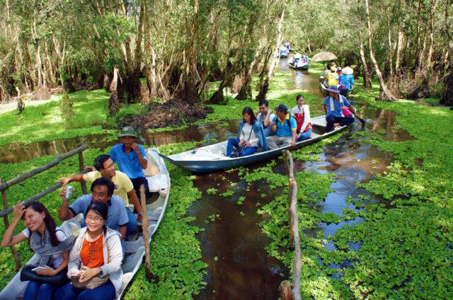 Spletí vodních kanálů, Delta Mekongu, Vietnam