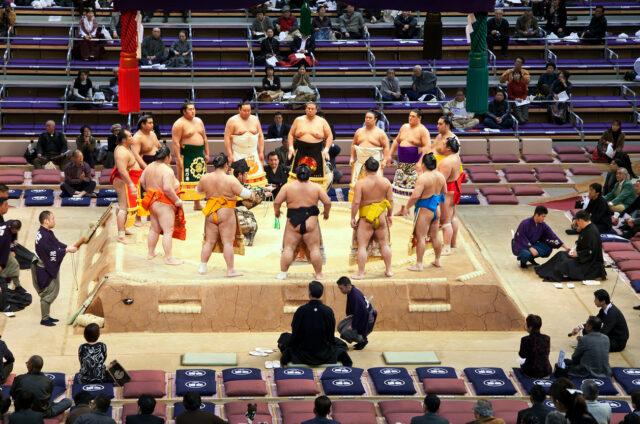 Turnaj sumo, Fukuoka, Japonsko