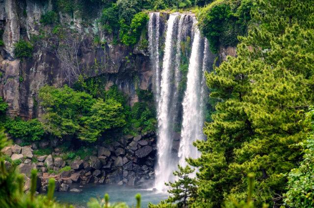Vodopád Jeongbang, Ostrov Čedžu, Korea