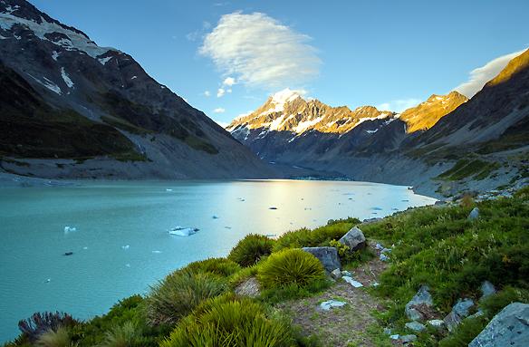 Mt. Cook, Jižní ostrov, Nový Zéland