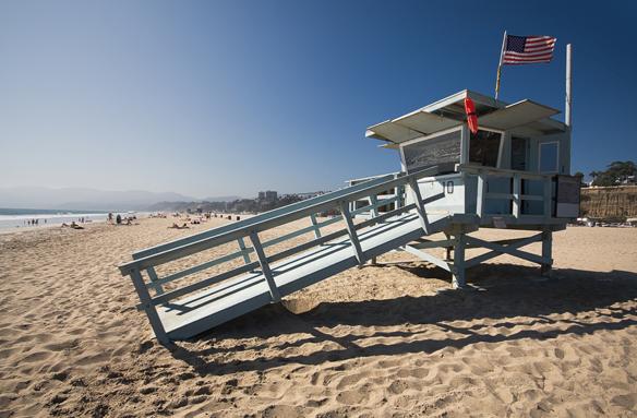 Strážní domek na pláži, Santa Monica, USA
