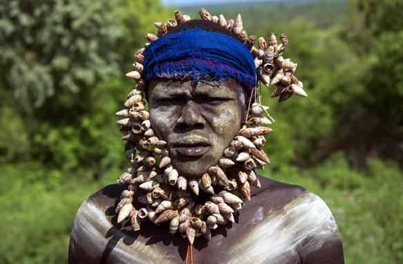 Muž kmene Mursi, N.P. Mago, Etiopie