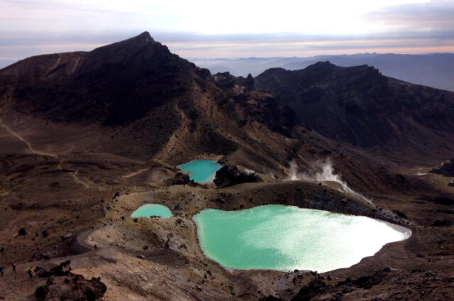Jezera v N.P. Tongariro, Severní o., N. Zéland