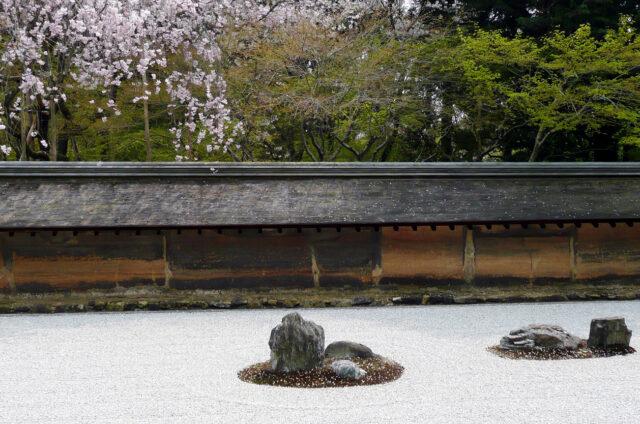 Kjóto, suchá zenová zahrada Rjóandži, Japonsko