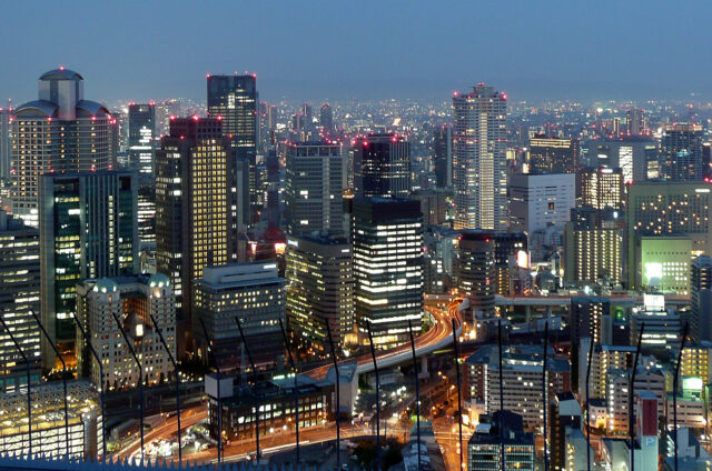 Noční Ósaka, Japonsko