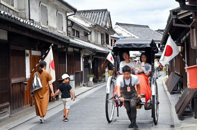 Okajama, historické Kurašiki, Japonsko