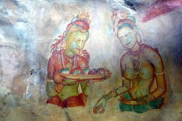 Skalní kresby žen, Sigiriya, Srí Lanka