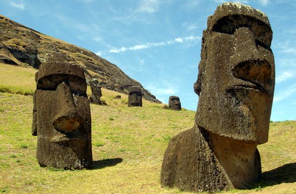 Rano Raraku, lom na výrobu soch, Velikonoční ostrov