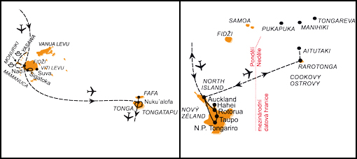 Mapa - 1192/MELANÉSIE A POLYNÉSIE – OSTROVY FIDŽI, TONGA A COOKOVY OSTROVY