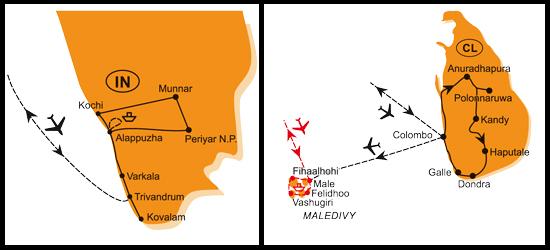 Mapa - 0704/KÉRALA A SRÍ LANKA