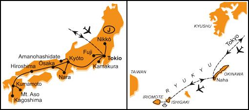 Mapa - 1014/JAPONSKO – HONŠÚ, KJÚŠÚ A OKINAWA A OSTROVY RJÚKJÚ