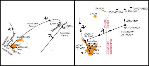 Mapa - 1172/COOKOVY OSTROVY, SAMOA A FIDŽI – OSTROVY ZÁPADNÍHO PACIFIKU