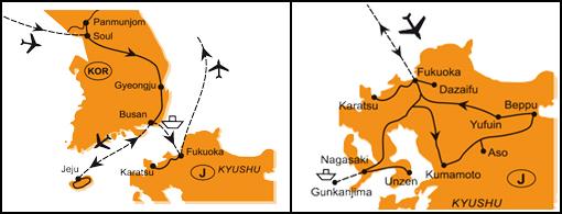 Mapa - 0982/KOREA, ČEDŽU A JAPONSKO – SOPKY, TERMÁLY A HRADY KJÚŠÚ