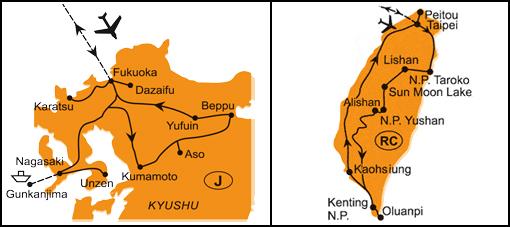 Mapa - 0973/OSTROV TCHAJ-WAN – JINÁ ČÍNA A JAPONSKO – SOPKY, TERMÁLY A HRADY KJÚŠÚ