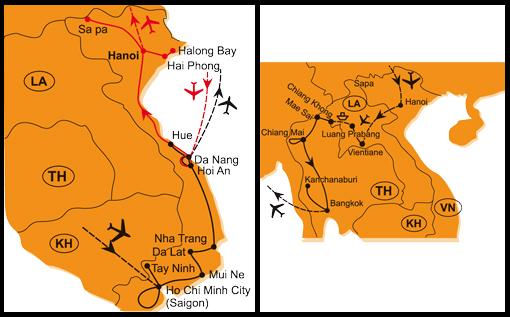 Mapa - 0794/SEVERNÍ VIETNAM – ZEMĚ VZDÁLENÁ I BLÍZKÁ A NAPŘÍČ INDOČÍNOU – VIETNAM, LAOS, THAJSKO