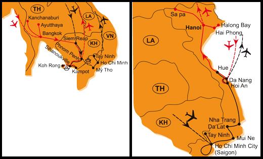 Mapa - 0823/KAMBODŽA, JIŽNÍ A STŘEDNÍ VIETNAM