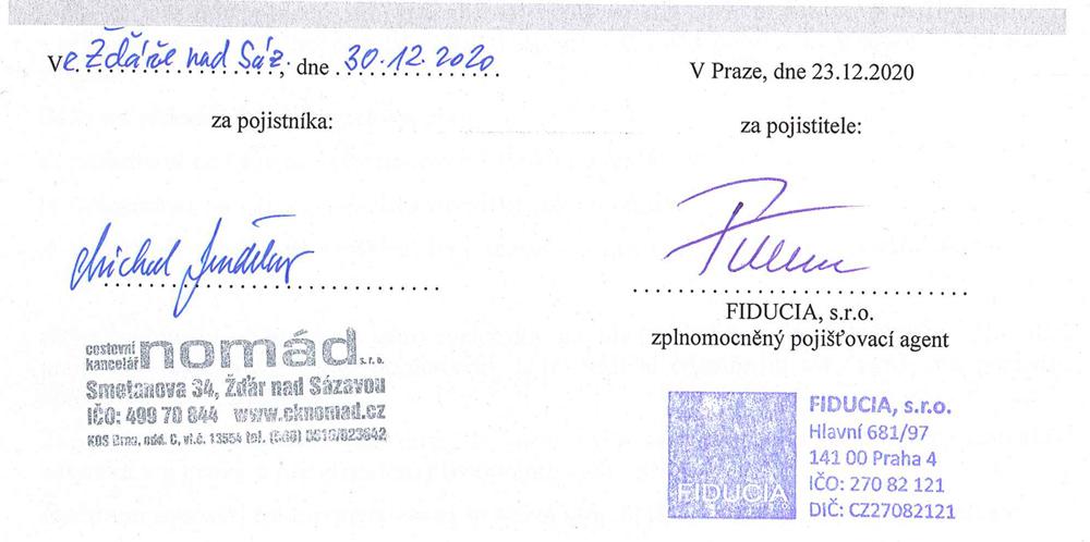 Podpis Pojištění proti krachu CK